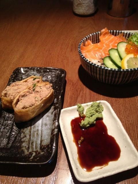 Tuna Inari sushi,  Salmon Don